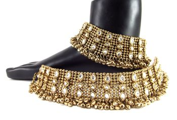 traditional kundan dull gold plated anklet