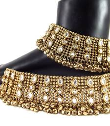 Buy traditional kundan dull gold plated anklet anklet online