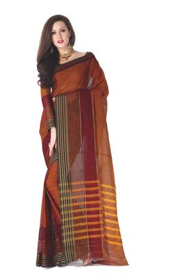 ISHIN Cotton Dark Orange Sarees Jeevika
