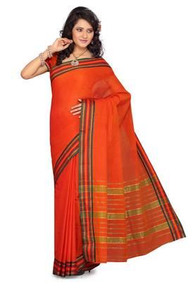 ISHIN Cotton Orange Saree Deepika