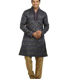 Buy Gold + indigo brocade kurta_pyjama men-festive-wear online