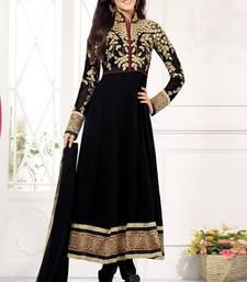 Buy Black embroidered georgette semi stitched salwar with dupatta collar-neck-design online