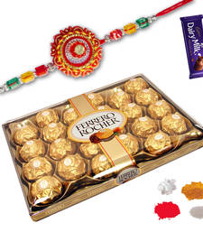 Buy 24 Pc Ferrero Rocher with Multi Zardoshi Rakhi zardosi-rakhi online