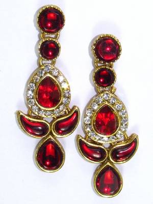 Attractive red stone studded ear ring.