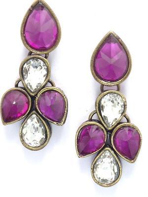 Beautiful purple stone studded ear ring.