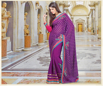 Violet embroidered rayon saree with blouse