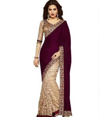 Maroon brasso velvet saree with blouse