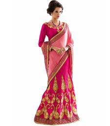 Buy Pink embroidered jacquard saree with blouse lehenga-saree online