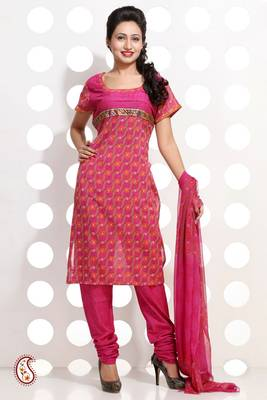 Block Print French Rose Pink Churidar Set