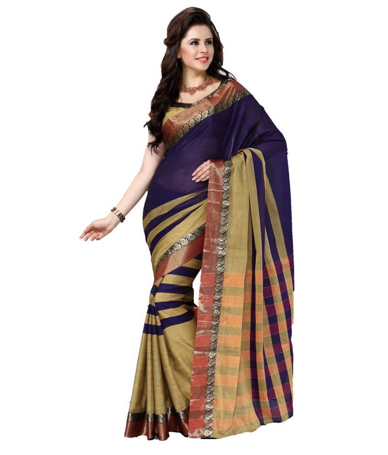 Buy Blue Plain Cotton Saree With Blouse Online