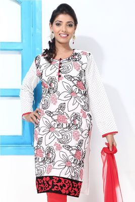 Black , Red and White Full sleeves Cotton Suit