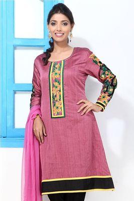 Mauve Cotton Silk Embroidery kurti style suit