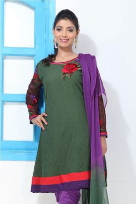 Viridian Green Faux Georgette Embroidery Suit