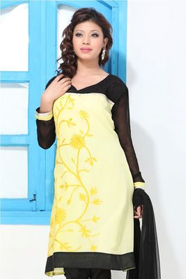 Black and Lemon Yellow Printed A-line suit