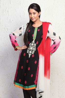 Enchanting Black Hand embroidered suit