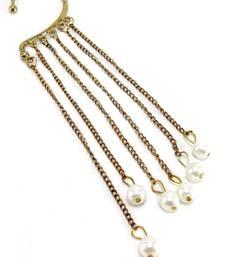 Buy gold plated trendy funky pearl ear cuff earring danglers-drop online