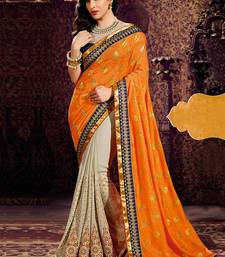 Buy orange & chikoo embroidered georgette saree  with blouse party-wear-saree online