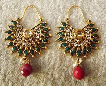 Ethnic Hoops in Green and Maroon