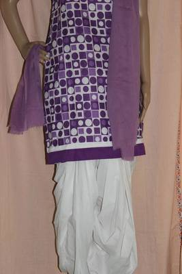 Purple and white patiala set