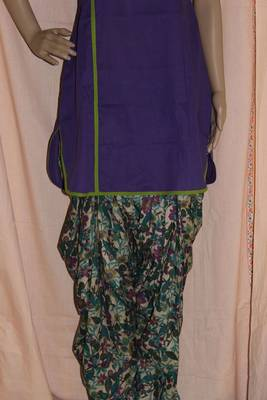 Purple and green patiala set