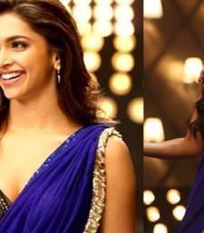 Buy blue Sequins work georgette saree with blouse deepika-padukone-saree online