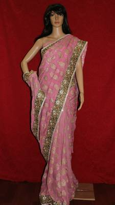 Baby Pink Georgette saree with Cutwork lace