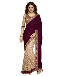Buy maroon embroidered saree with blouse ombre-saree online