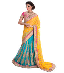 Buy Yellow And Sky embroidered georgette saree bridal-saree online