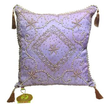 Sequined Beaded Mauve Cushion Cover