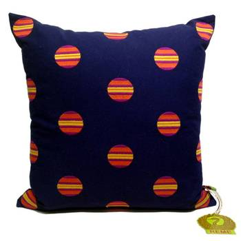 Blue Cushion Cover With Circled Embroidery