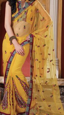 Yellow net & chiffon designer saree - Riyaa 902507