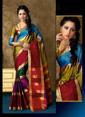 Multicolour Plain cotton saree with blouse