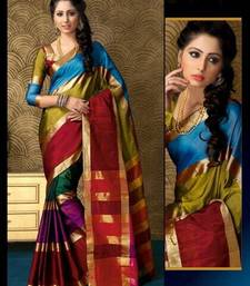 Buy Multicolour Plain cotton saree with blouse traditional-saree online