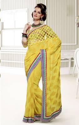 Elegant Designer Sari Saffron 203