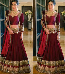 Buy RED ZARI WORKED SILK DESIGNER LEHENGA WITH BLOUSE bollywood-lehenga online