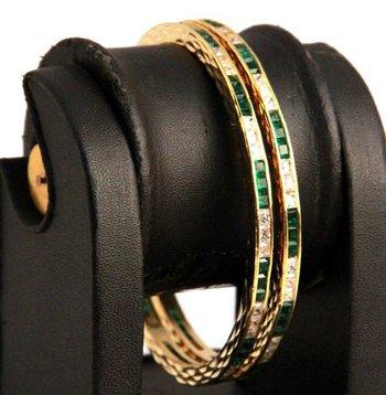 Green and White Stones Pair of American Diamond Bangles