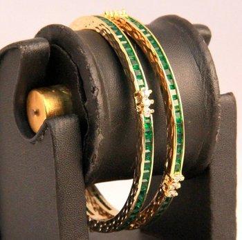 Green Stones Pair of American Diamond Bangles