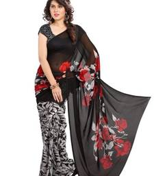 Buy BLACK printed bhagalpuri saree with blouse printed-saree online