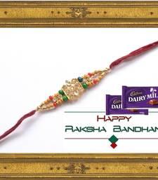 Buy 1 Maroon Beaded Brother Rakhi With 2 Chocolates For Rakshabandhan rakhi-with-chocolate online