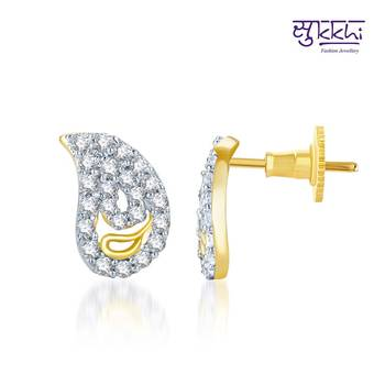 Sukkhi Delightful Gold and Rhodium Plated CZ Earrings(132E750)