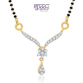 Sukkhi Sleek CZ Gold and Rhodium Plated mangalsutra(122M400)