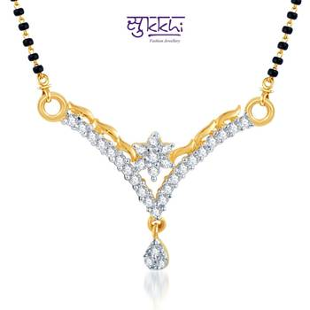 Sukkhi Briliant CZ Gold and Rhodium Plated mangalsutra(123M500)