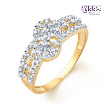 Sukkhi Ravishing Gold and Rhodium Plated CZ rings(166R580)
