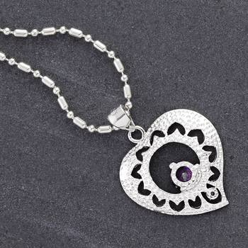Silver and Iolite Heart pendant