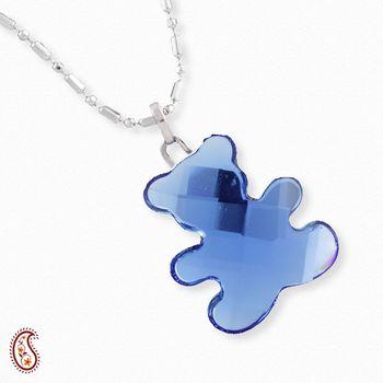 Baby Blue Bear Crystal Pendant