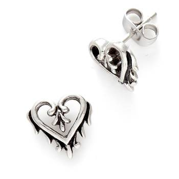 Oxidised Heart Stud Earrings