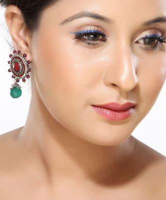 CZ, Rubies and Onyx Round earrings