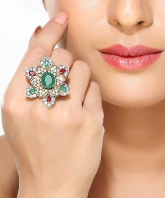 Ruby, Emerald and CZ Floral Fashion Ring
