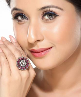 Flower Ruby and CZ Cocktail Ring