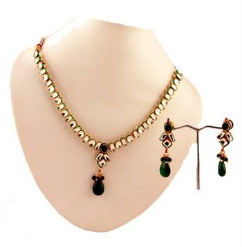 Kundan Necklace Set with matching earrings. Green Hangings.